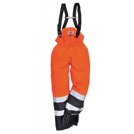 Ostrzegawcze trudnopalne spodnie ochronne BizFlame Rain S782