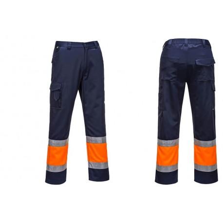 Spodnie bojówki dwukolorowe z filmów odblaskowym E049