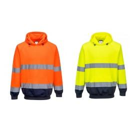 Dwukolorowy sweter z kapturem B316