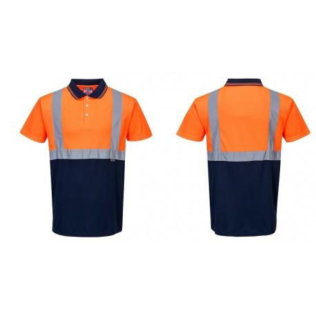 Dwukolorowa koszulka ostrzegawcza polo S479